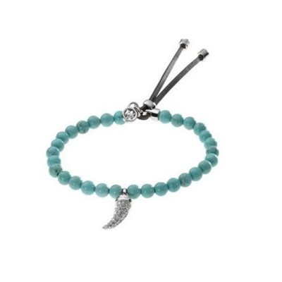 Cheap Michael Kors Teal Beads Pave Horn Adjustable Bracelet
