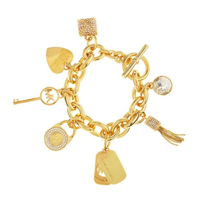 Cheap Michael Kors Gold-Tone Pave Rhinestone Charm Toggle Bracelet