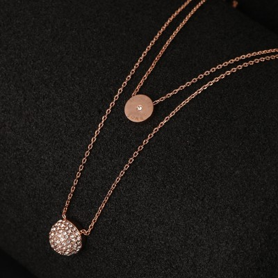 Cheap Michael Kors Rose Gold-Tone Pave Semicircle Pendants Necklace