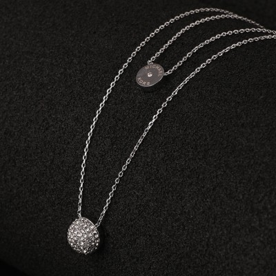 Cheap Michael Kors Silver-Tone Pave Semicircle Pendants Necklace