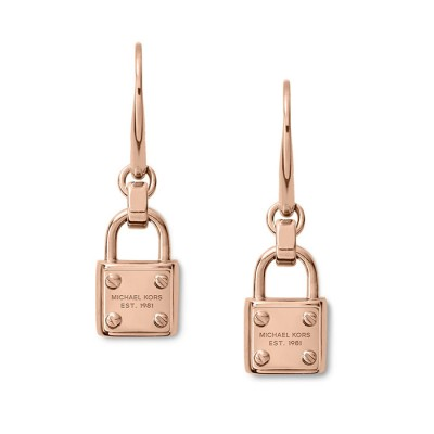 Cheap Michael Kors Rose Gold-Tone Logo Plaque Padlock Drop Earrings