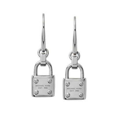 Cheap Michael Kors Silver-Tone Logo Plaque Padlock Drop Earrings