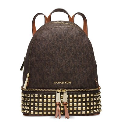 MICHAEL Michael Kors Rhea Small Studded Logo Backpack Coffee