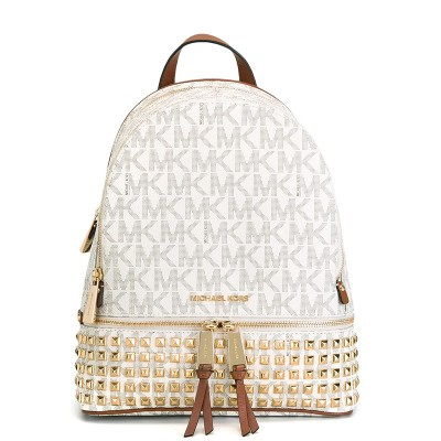MICHAEL Michael Kors Rhea Small Studded Logo Backpack White