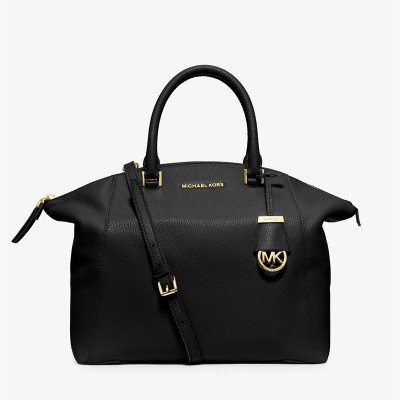 MICHAEL Michael Kors Riley Pebbled-Leather Satchel Black