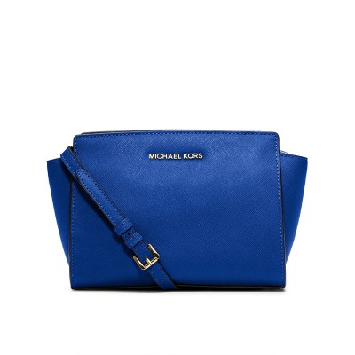 MICHAEL Michael Kors Selma Medium Saffiano Leather Messenger Blue
