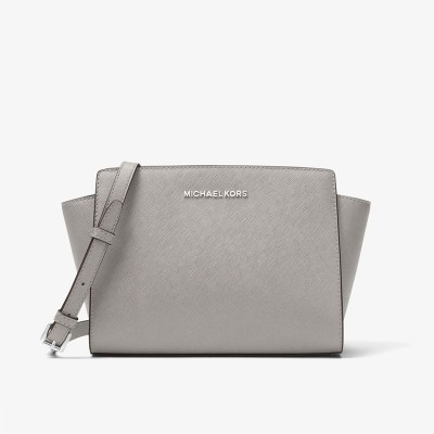 MICHAEL Michael Kors Selma Medium Saffiano Leather Messenger Grey