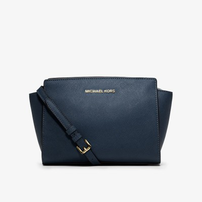 MICHAEL Michael Kors Selma Medium Saffiano Leather Messenger Navy Blue