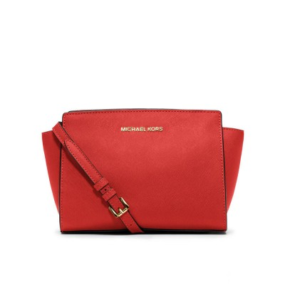MICHAEL Michael Kors Selma Medium Saffiano Leather Messenger Red
