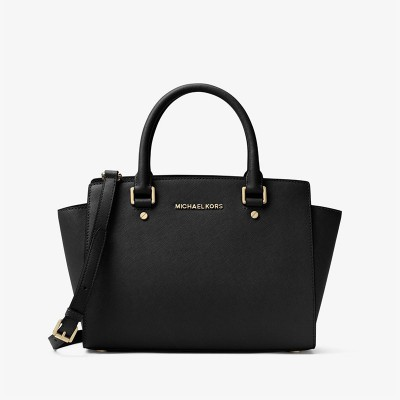 MICHAEL Michael Kors Selma Saffiano Leather Satchel Black
