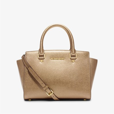 MICHAEL Michael Kors Selma Saffiano Leather Satchel Gold