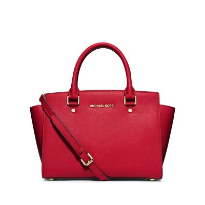 MICHAEL Michael Kors Selma Saffiano Leather Satchel Red