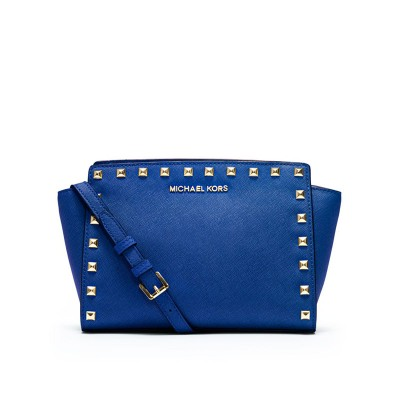 MICHAEL Michael Kors Selma Medium Studded Saffiano Leather Messenger Blue