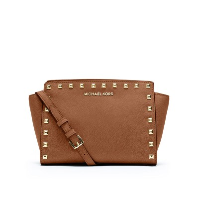 MICHAEL Michael Kors Selma Medium Studded Saffiano Leather Messenger Brown