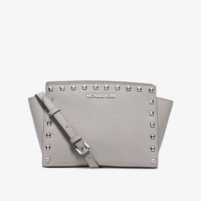 MICHAEL Michael Kors Selma Medium Studded Saffiano Leather Messenger Grey