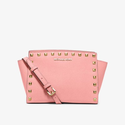 MICHAEL Michael Kors Selma Medium Studded Saffiano Leather Messenger Pink