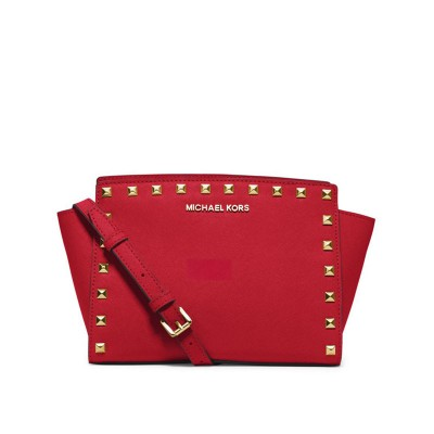 MICHAEL Michael Kors Selma Medium Studded Saffiano Leather Messenger Red