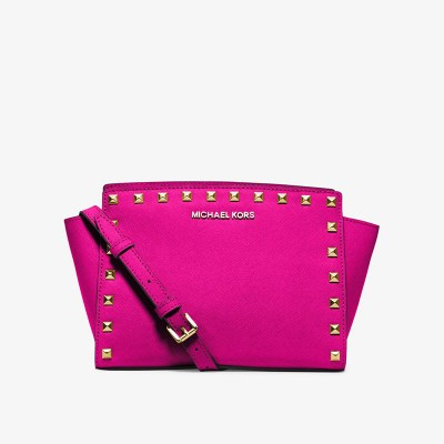 MICHAEL Michael Kors Selma Medium Studded Saffiano Leather Messenger Rose