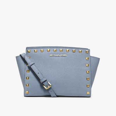 MICHAEL Michael Kors Selma Medium Studded Saffiano Leather Messenger Sky Blue