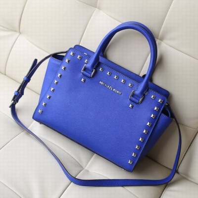 MICHAEL Michael Kors Selma Studded Saffiano Leather Satchel Blue