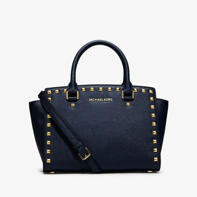 MICHAEL Michael Kors Selma Studded Saffiano Leather Satchel Navy Blue