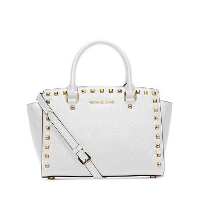 MICHAEL Michael Kors Selma Studded Saffiano Leather Satchel White