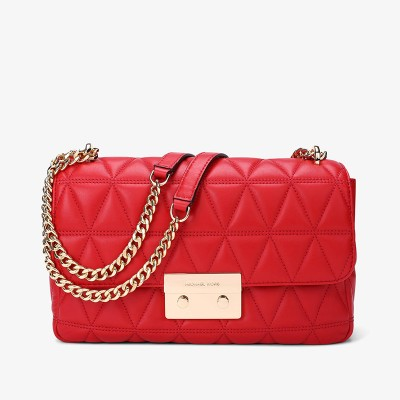 MICHAEL Michael Kors Sloan Quilted-Leather Shoulder Bag Red