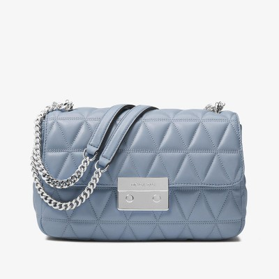 MICHAEL Michael Kors Sloan Quilted-Leather Shoulder Bag Sky Blue