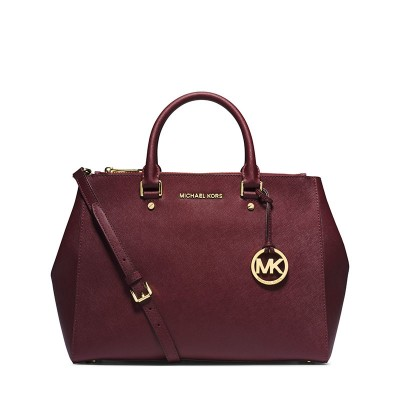 MICHAEL Michael Kors Sutton Medium Saffiano Leather Satchel Burgundy