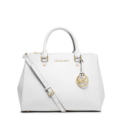 MICHAEL Michael Kors Sutton Medium Saffiano Leather Satchel White