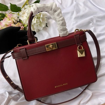 MICHAEL Michael Kors Tatiana Small Leather Satchel Burgundy
