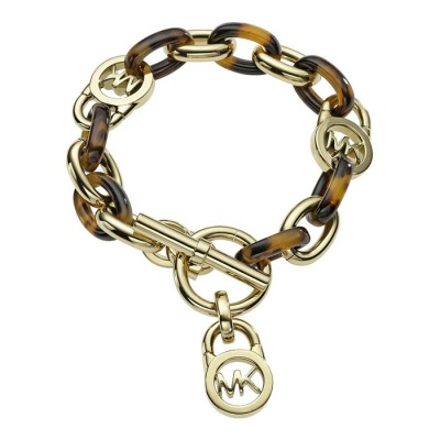Cheap Michael Kors Gold-Tone Tortoise Acetate Toggle Bracelet