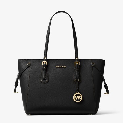 MICHAEL Michael Kors Voyager Medium Crossgrain Leather Tote Bag Black