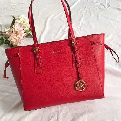 MICHAEL Michael Kors Voyager Medium Crossgrain Leather Tote Bag Red