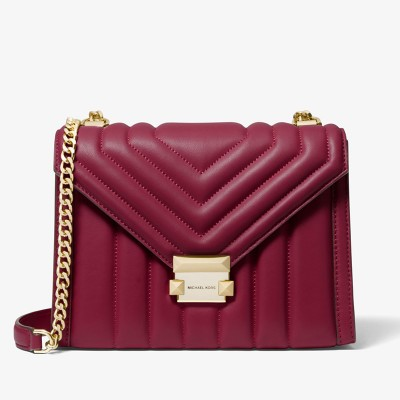 MICHAEL Michael Kors Whitney Quilted Leather Convertible Shoulder Bag Berry