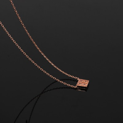 Cheap Michael Kors Rose Gold-Tone Zircon Square Pendant Necklace