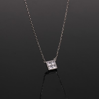 Cheap Michael Kors Silver-Tone Zircon Square Pendant Necklace