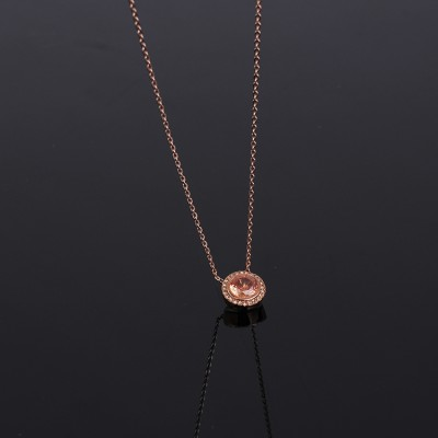 Cheap Michael Kors Rose Gold-Tone Zircons Disc Pendant Necklace